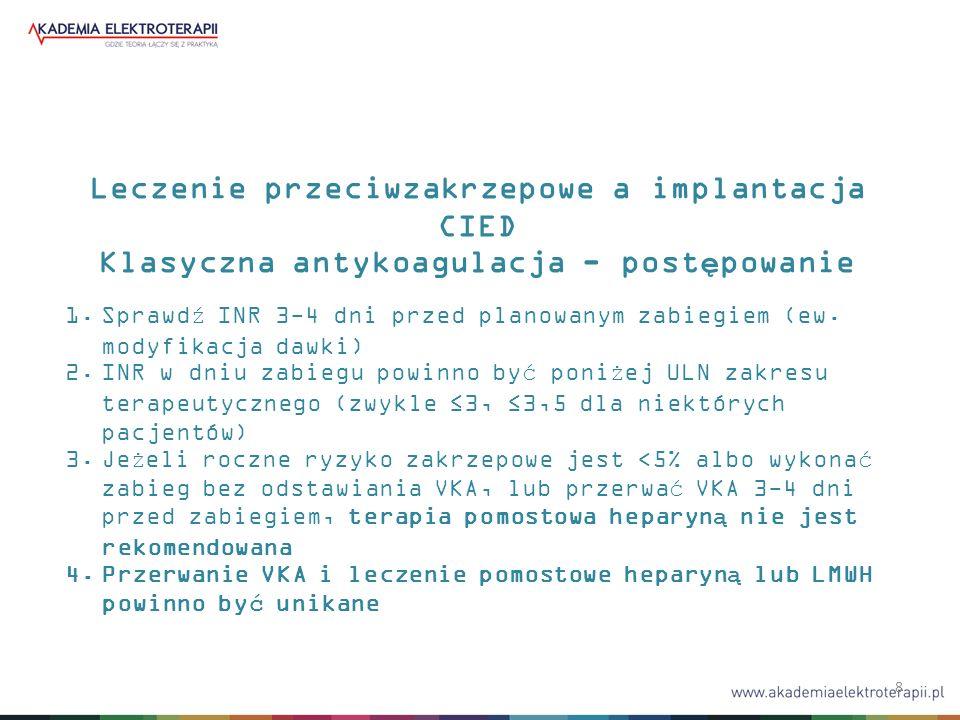 8 Leczenie przeciwzakrzepowe a implantacja CIED Klasyczna antykoagulacja - postępowanie 1.Sprawdź INR 3-4 dni przed planowanym zabiegiem (ew.