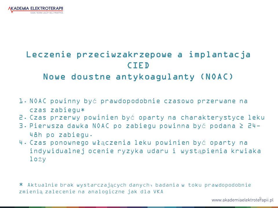 9 Leczenie przeciwzakrzepowe a implantacja CIED Nowe doustne antykoagulanty (NOAC) 1.NOAC powinny być prawdopodobnie czasowo przerwane na czas zabiegu* 2.Czas przerwy powinien być oparty na charakterystyce leku 3.Pierwsza dawka NOAC po zabiegu powinna być podana ≥ 24- 48h po zabiegu.