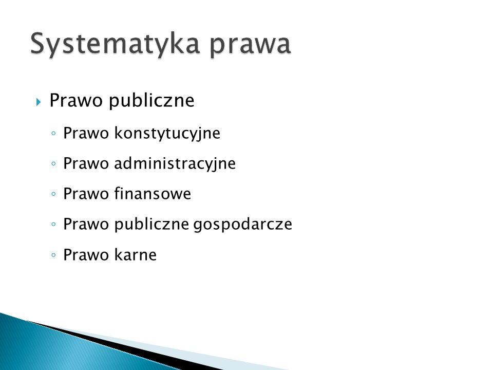  Prawo publiczne ◦ Prawo konstytucyjne ◦ Prawo administracyjne ◦ Prawo finansowe ◦ Prawo publiczne gospodarcze ◦ Prawo karne