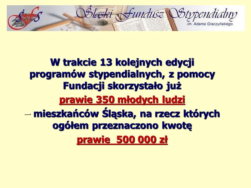 XIV edycja programu stypendialnego Fundacji to: rekordowa liczba 70 stypendystów ŚFS i ponad 120 tys. zł. przyznanej pomocy w formie: z stypendiów sem
