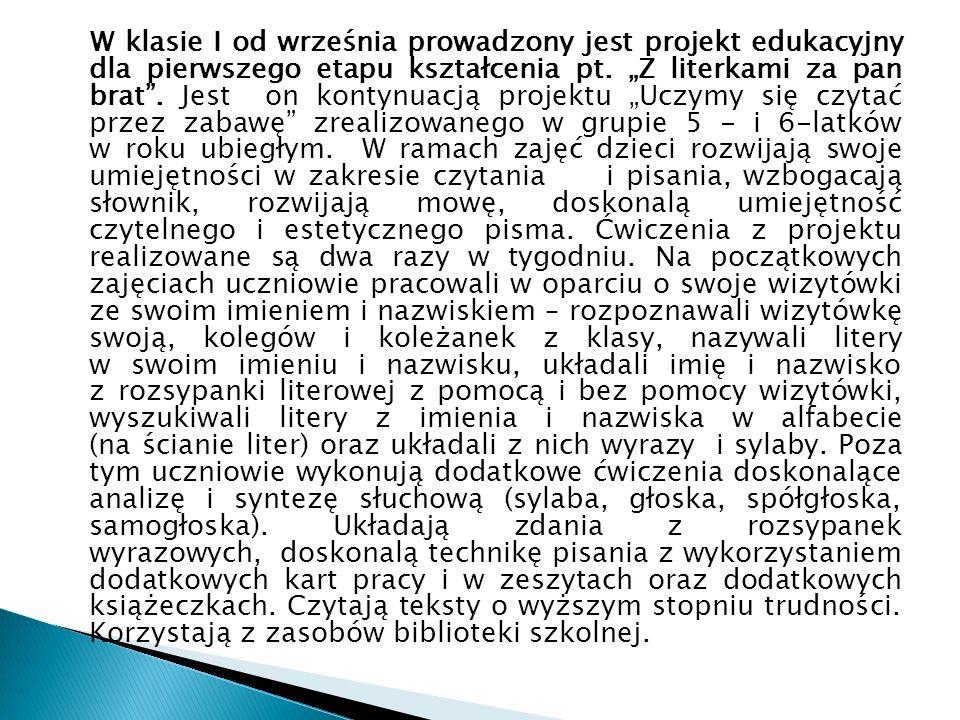 Sprawozdanie z terapii logopedycznej - Anna Jagoda -logopeda W pierwszym półroczu roku szkolnego 2014/2015 w terapii logopedycznej uczestniczyło 28 dzieci, w tym 14 wychowanków Oddziałów Przedszkolnych (dziewięcioro 3,4-latków oraz pięcioro 5,6-latków) oraz 14 uczniów klas I-VI.