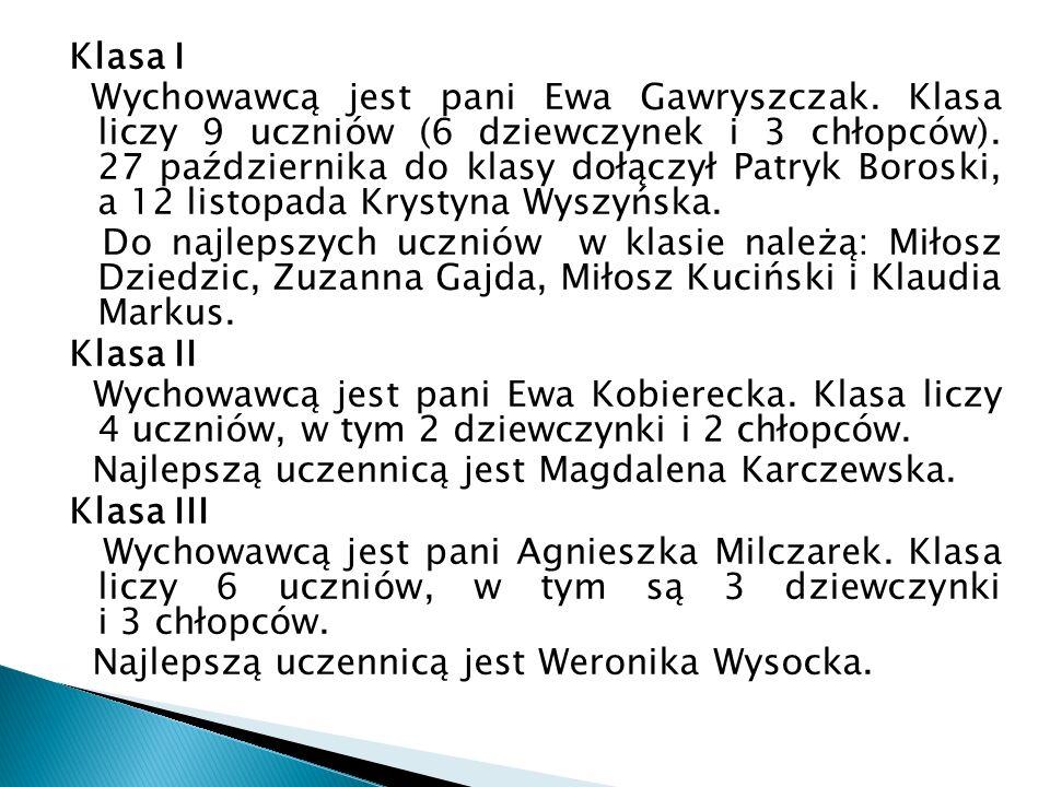 Klasa IV Wychowawcą jest pani Agnieszka Milczarek.