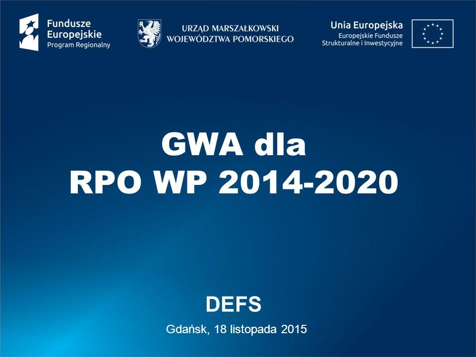 Regionalny Program Operacyjny Województwa Pomorskiego na lata 2014-2020 DEFS 2 Agenda – aspekty techniczne pracy w GWA 1.Kwestie ogólne 2.Zakładanie konta 3.Nowy wniosek 4.Dostępne działania 5.Walidacje 6.Wsparcie 7.Odzyskiwanie dostępu 8.Analiza wykorzystania GWA