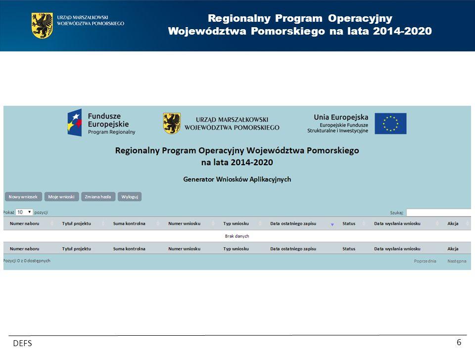 Regionalny Program Operacyjny Województwa Pomorskiego na lata 2014-2020 DEFS 6