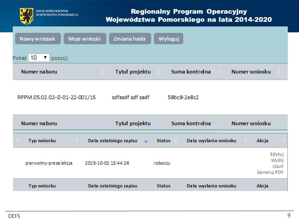 Regionalny Program Operacyjny Województwa Pomorskiego na lata 2014-2020 DEFS 10