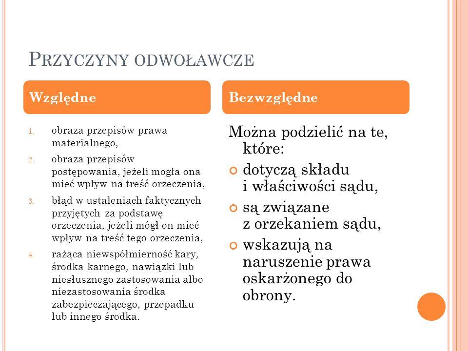 P RZYCZYNY ODWOŁAWCZE 1. obraza przepisów prawa materialnego, 2.