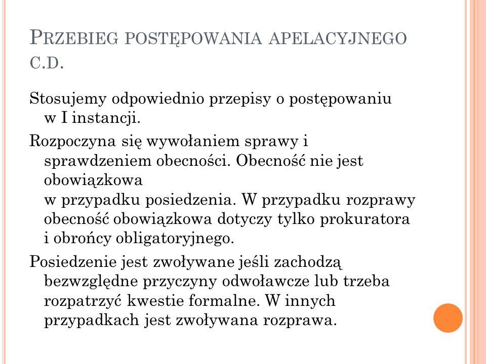 P RZEBIEG POSTĘPOWANIA APELACYJNEGO C. D.