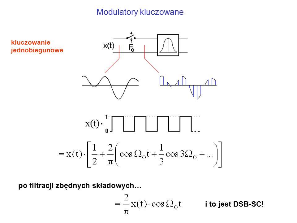 Modulatory kluczowane po filtracji zbędnych składowych… i to jest DSB-SC! kluczowanie jednobiegunowe