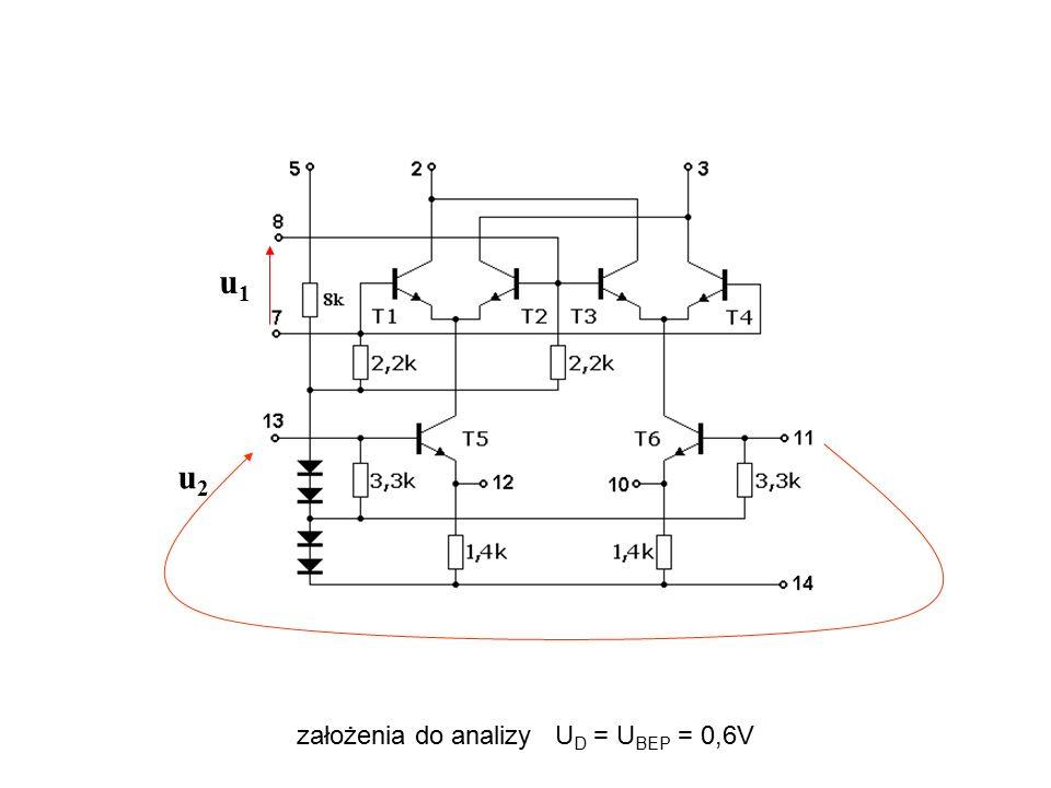 założenia do analizy U D = U BEP = 0,6V u2u2 u1u1