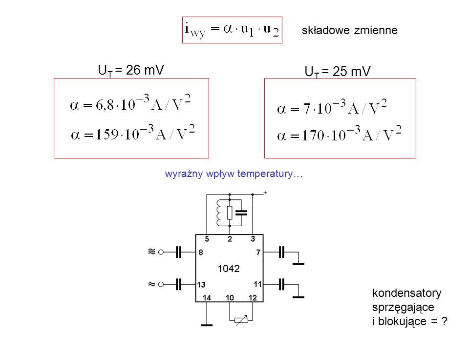kondensatory sprzęgające i blokujące = ? składowe zmienne U T = 26 mV U T = 25 mV wyraźny wpływ temperatury…