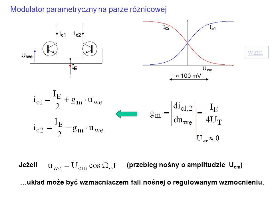 wzm Jeżeli U we  0 …układ może być wzmacniaczem fali nośnej o regulowanym wzmocnieniu. (przebieg nośny o amplitudzie U cm ) Modulator parametryczny n