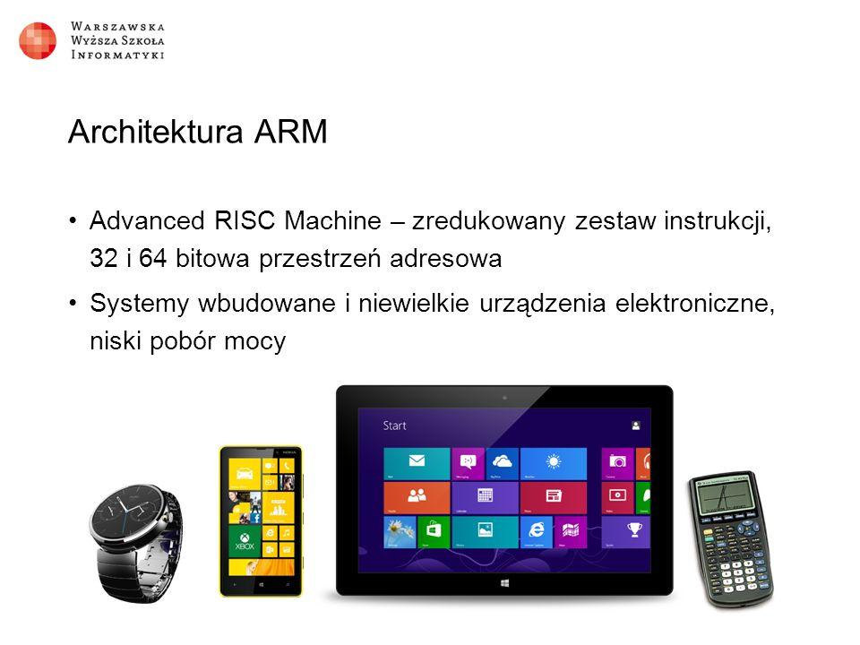Architektura ARM Advanced RISC Machine – zredukowany zestaw instrukcji, 32 i 64 bitowa przestrzeń adresowa Systemy wbudowane i niewielkie urządzenia elektroniczne, niski pobór mocy