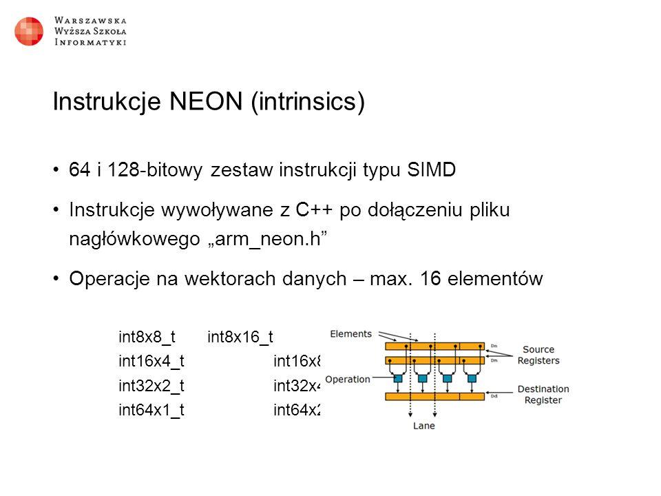 """Instrukcje NEON (intrinsics) 64 i 128-bitowy zestaw instrukcji typu SIMD Instrukcje wywoływane z C++ po dołączeniu pliku nagłówkowego """"arm_neon.h Operacje na wektorach danych – max."""