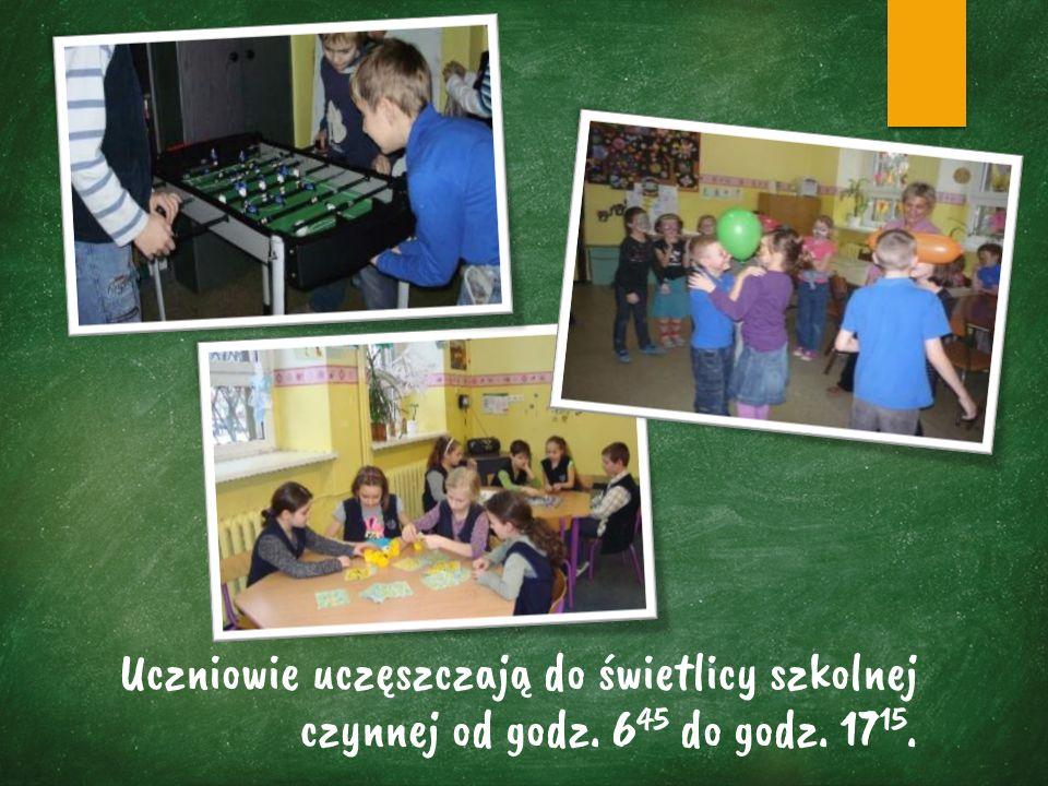 Uczniowie uczęszczają do świetlicy szkolnej czynnej od godz. 6 45 do godz. 17 15.