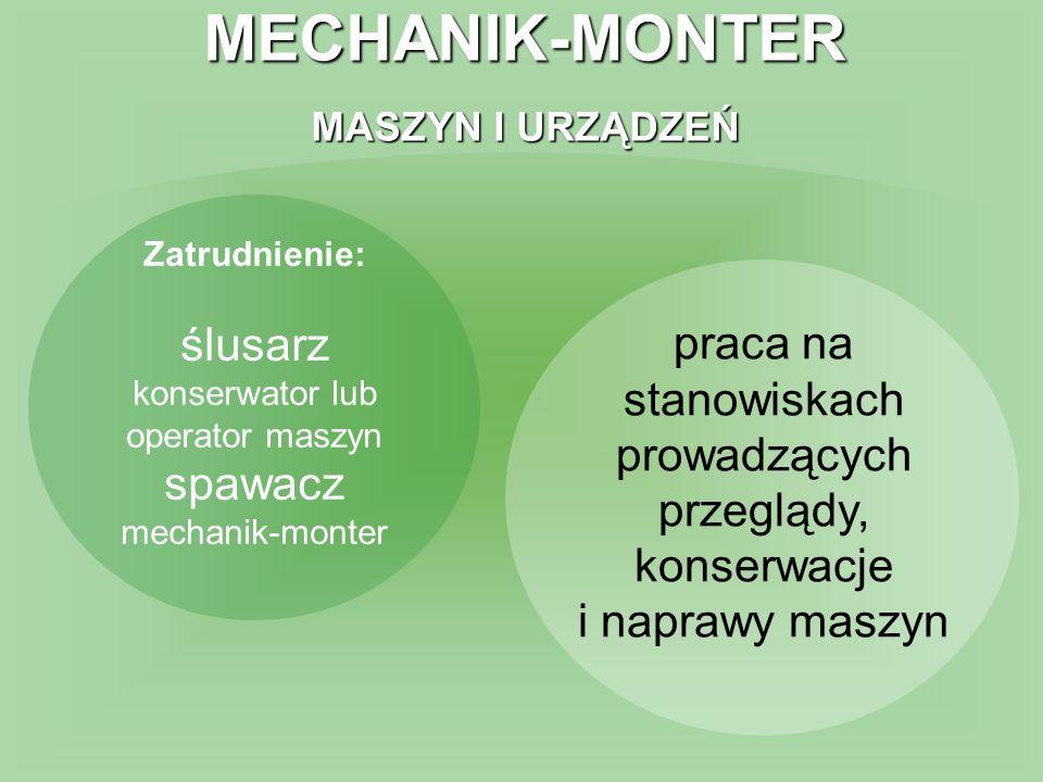 MECHANIK-MONTER MASZYN I URZĄDZEŃ Zatrudnienie: ślusarz konserwator lub operator maszyn spawacz mechanik-monter praca na stanowiskach prowadzących prz