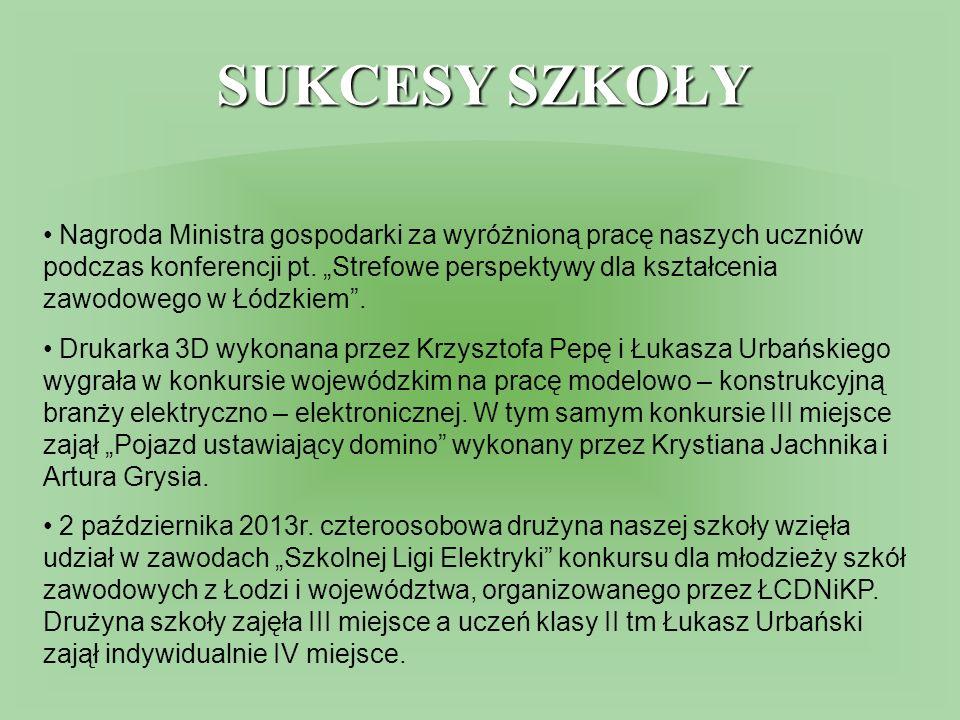 SUKCESY SZKOŁY Nagroda Ministra gospodarki za wyróżnioną pracę naszych uczniów podczas konferencji pt.