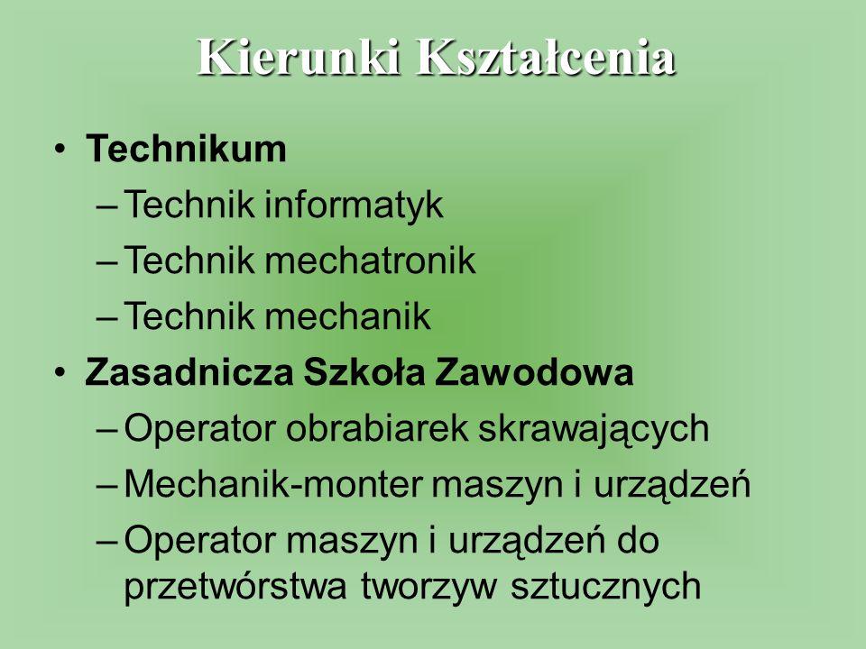 Technikum –Technik informatyk –Technik mechatronik –Technik mechanik Zasadnicza Szkoła Zawodowa –Operator obrabiarek skrawających –Mechanik-monter mas