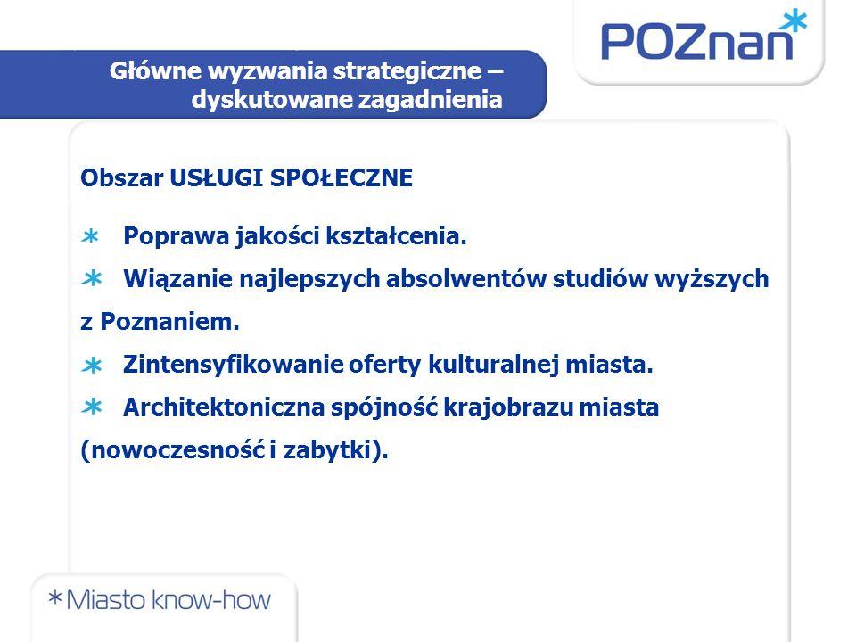 Obszar USŁUGI SPOŁECZNE Wykreowanie produktu kulturalnego Poznania w związku z realizacją jego funkcji metropolitalnej.