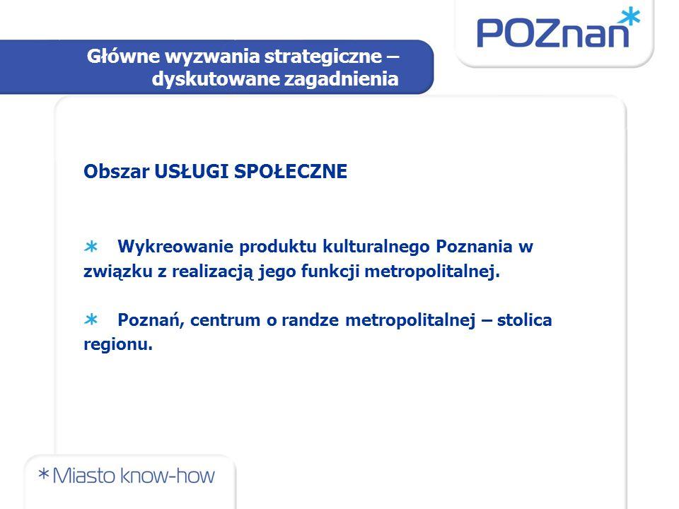 Obszar USŁUGI SPOŁECZNE Wykreowanie produktu kulturalnego Poznania w związku z realizacją jego funkcji metropolitalnej. Poznań, centrum o randze metro