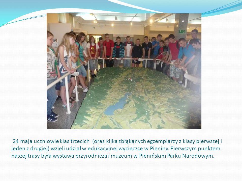 24 maja uczniowie klas trzecich (oraz kilka zbłąkanych egzemplarzy z klasy pierwszej i jeden z drugiej) wzięli udział w edukacyjnej wycieczce w Pieniny.