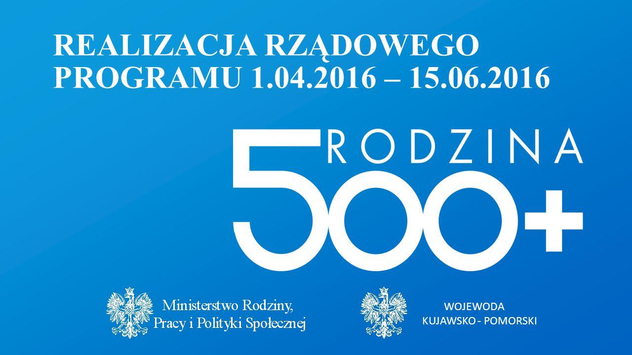 WOJEWODA KUJAWSKO - POMORSKI REALIZACJA RZĄDOWEGO PROGRAMU 1.04.2016 – 15.06.2016