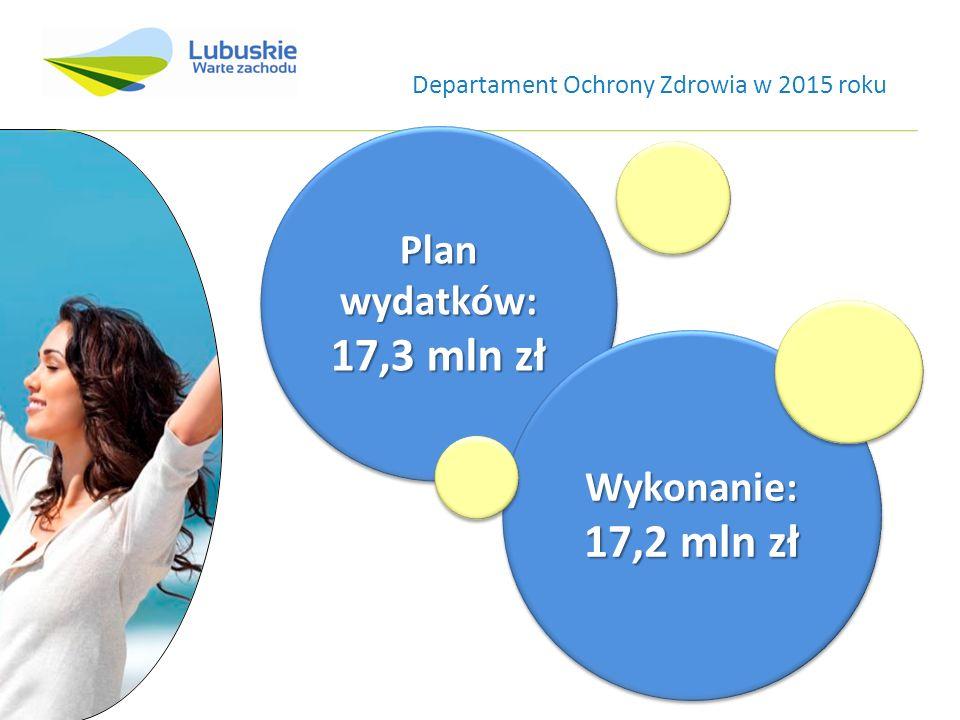 Plan wydatków: 17,3 mln zł Plan wydatków: 17,3 mln zł Wykonanie: 17,2 mln zł Wykonanie: Departament Ochrony Zdrowia w 2015 roku