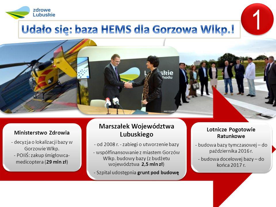 Ministerstwo Zdrowia - decyzja o lokalizacji bazy w Gorzowie Wlkp.