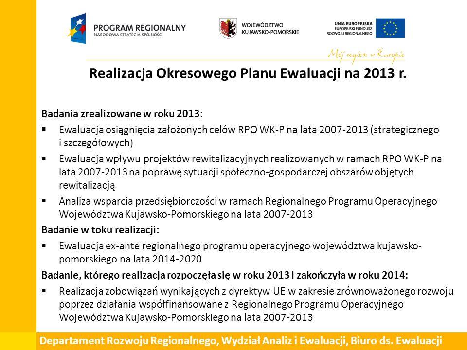 Liczba rekomendacji w poszczególnych badaniach ewaluacyjnych zrealizowanych w roku 2013 Departament Rozwoju Regionalnego, Wydział Analiz i Ewaluacji, Biuro ds.