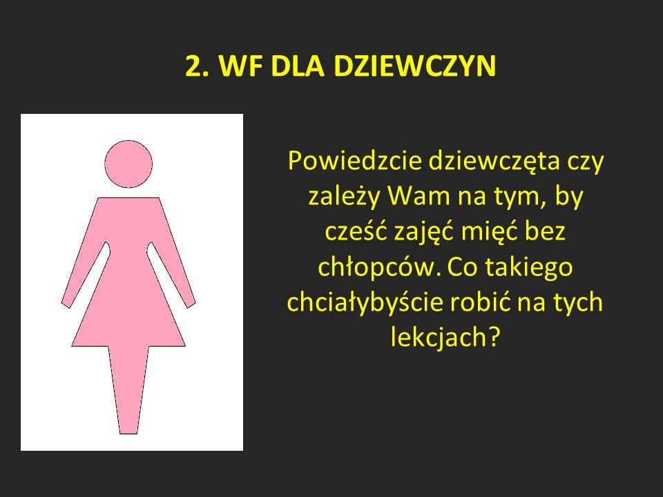 2. WF DLA DZIEWCZYN Powiedzcie dziewczęta czy zależy Wam na tym, by cześć zajęć mięć bez chłopców.