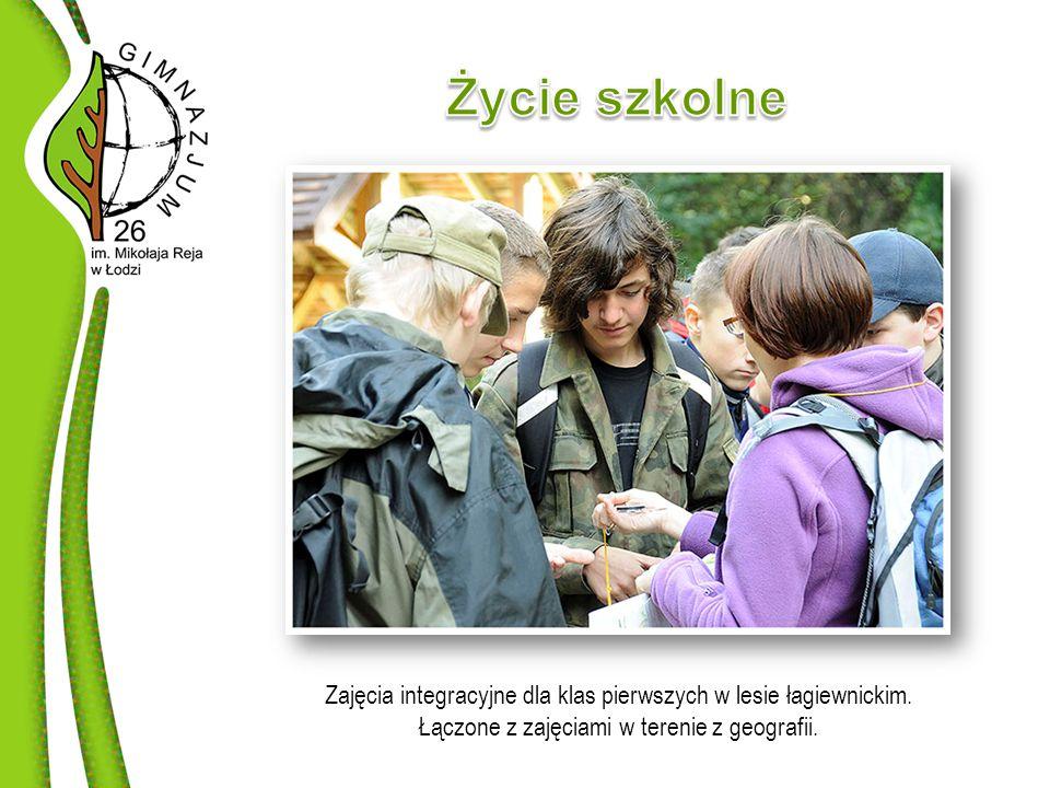 Zajęcia integracyjne dla klas pierwszych w lesie łagiewnickim.