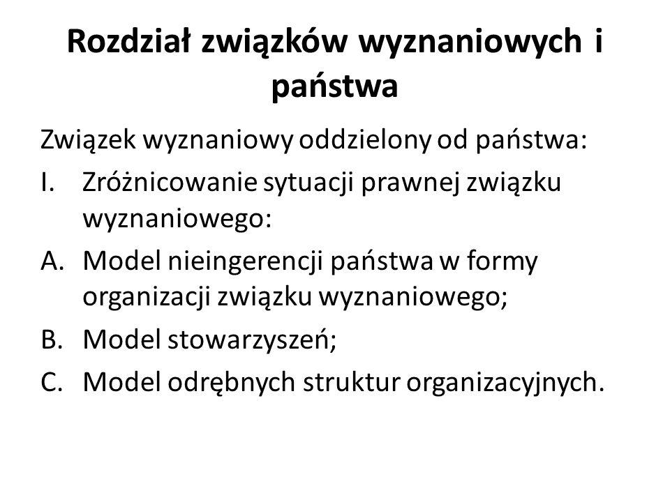 Rozdział związków wyznaniowych i państwa Związek wyznaniowy oddzielony od państwa: I.Zróżnicowanie sytuacji prawnej związku wyznaniowego: A.Model nieingerencji państwa w formy organizacji związku wyznaniowego; B.Model stowarzyszeń; C.Model odrębnych struktur organizacyjnych.