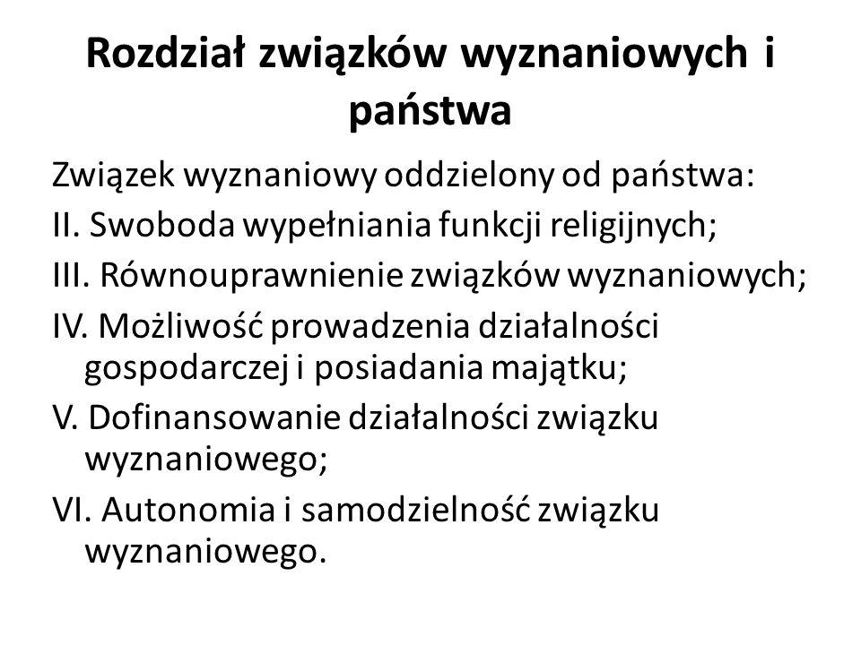 Rozdział związków wyznaniowych i państwa Związek wyznaniowy oddzielony od państwa: II.