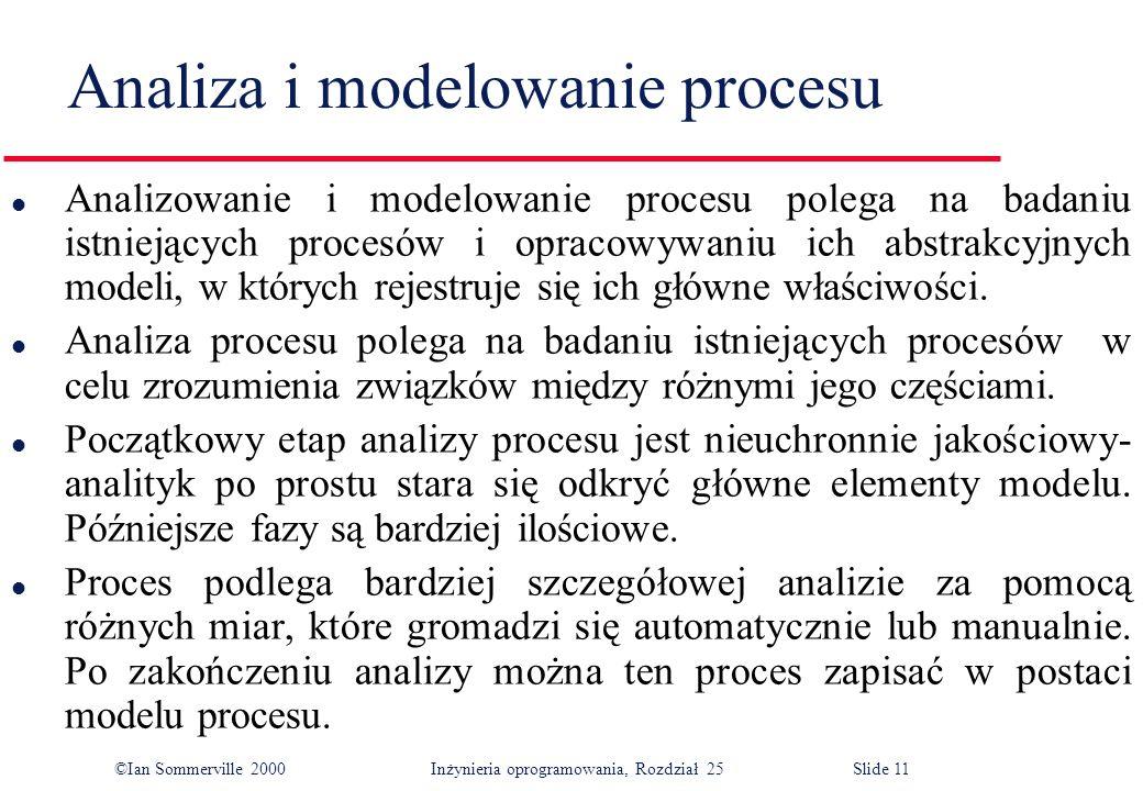 ©Ian Sommerville 2000Inżynieria oprogramowania, Rozdział 25 Slide 11 Analiza i modelowanie procesu l Analizowanie i modelowanie procesu polega na badaniu istniejących procesów i opracowywaniu ich abstrakcyjnych modeli, w których rejestruje się ich główne właściwości.