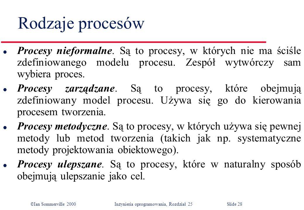 ©Ian Sommerville 2000Inżynieria oprogramowania, Rozdział 25 Slide 28 Rodzaje procesów l Procesy nieformalne.