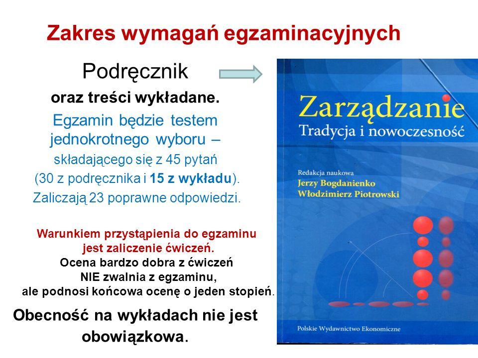 Zakres wymagań egzaminacyjnych Podręcznik oraz treści wykładane.