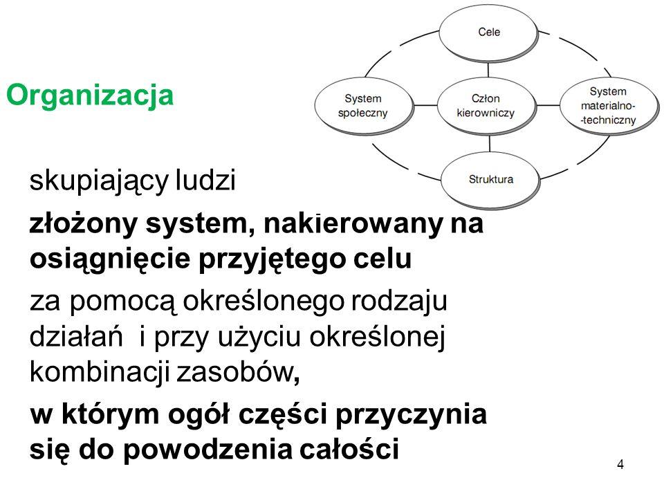 Organizacja skupiający ludzi złożony system, nakierowany na osiągnięcie przyjętego celu za pomocą określonego rodzaju działań i przy użyciu określonej kombinacji zasobów, w którym ogół części przyczynia się do powodzenia całości 4