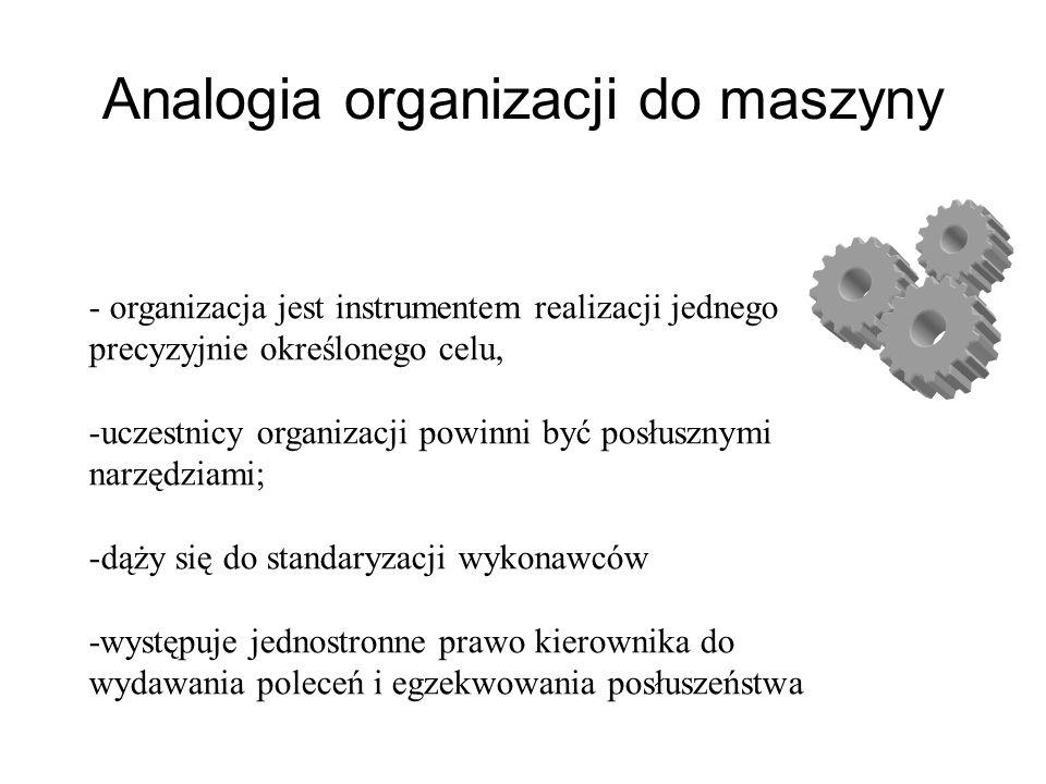 - organizacja jest instrumentem realizacji jednego precyzyjnie określonego celu, -uczestnicy organizacji powinni być posłusznymi narzędziami; -dąży się do standaryzacji wykonawców -występuje jednostronne prawo kierownika do wydawania poleceń i egzekwowania posłuszeństwa Analogia organizacji do maszyny