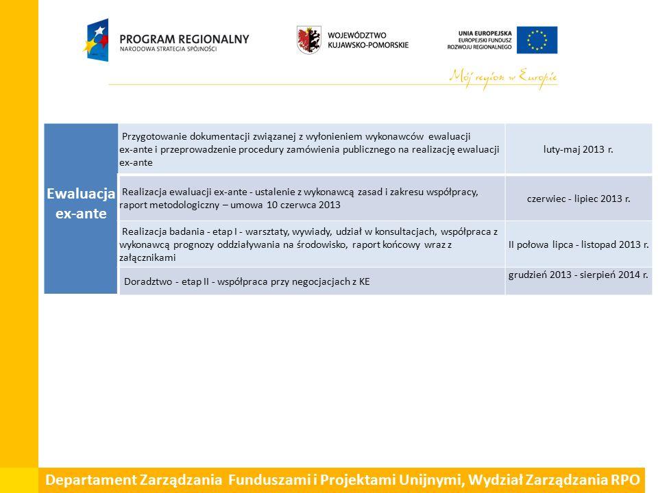 Ewaluacja ex-ante Przygotowanie dokumentacji związanej z wyłonieniem wykonawców ewaluacji ex-ante i przeprowadzenie procedury zamówienia publicznego na realizację ewaluacji ex-ante luty-maj 2013 r.