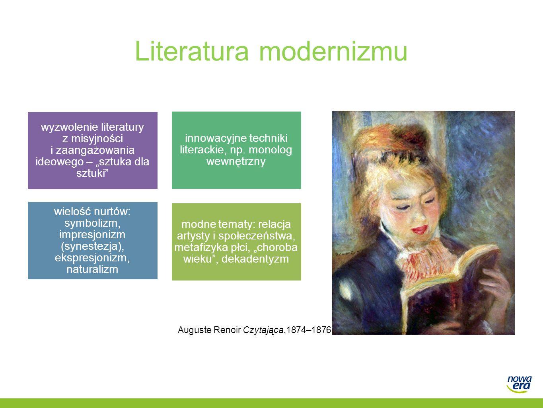 """Literatura modernizmu modne tematy: relacja artysty i społeczeństwa, metafizyka płci, """"choroba wieku"""", dekadentyzm innowacyjne techniki literackie, np"""