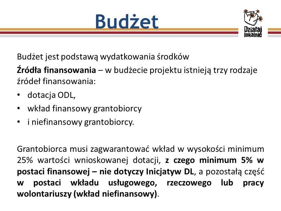 Budżet jest podstawą wydatkowania środków Źródła finansowania – w budżecie projektu istnieją trzy rodzaje źródeł finansowania: dotacja ODL, wkład finansowy grantobiorcy i niefinansowy grantobiorcy.