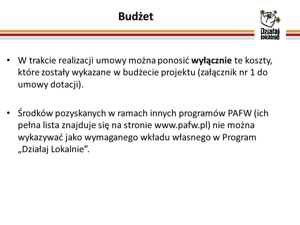 W trakcie realizacji umowy można ponosić wyłącznie te koszty, które zostały wykazane w budżecie projektu (załącznik nr 1 do umowy dotacji).