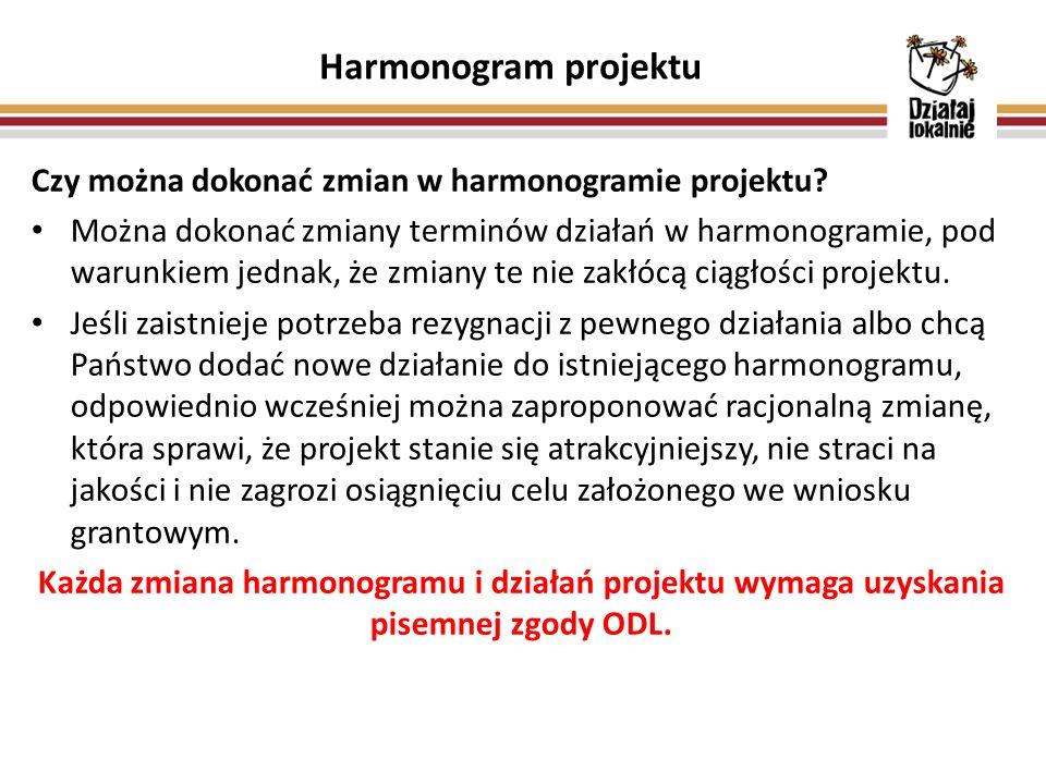 Harmonogram projektu Czy można dokonać zmian w harmonogramie projektu.