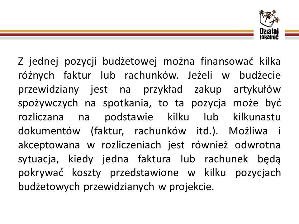 Z jednej pozycji budżetowej można finansować kilka różnych faktur lub rachunków.