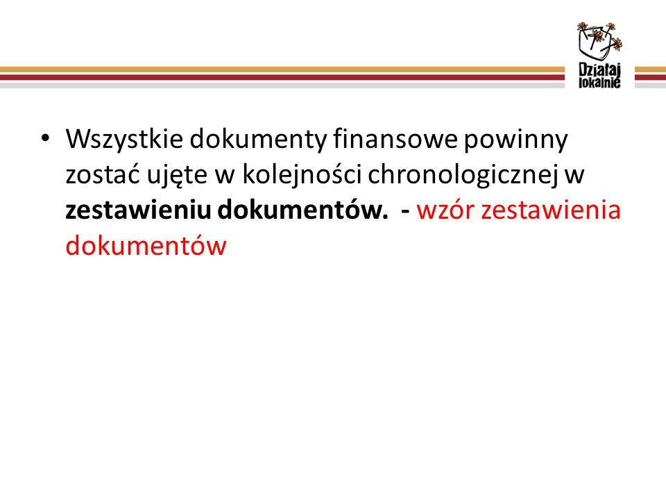 Wszystkie dokumenty finansowe powinny zostać ujęte w kolejności chronologicznej w zestawieniu dokumentów.