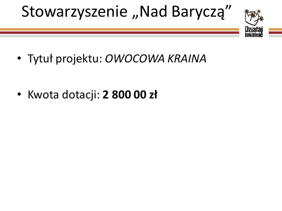 """Stowarzyszenie """"Nad Baryczą Tytuł projektu: OWOCOWA KRAINA Kwota dotacji: 2 800 00 zł"""