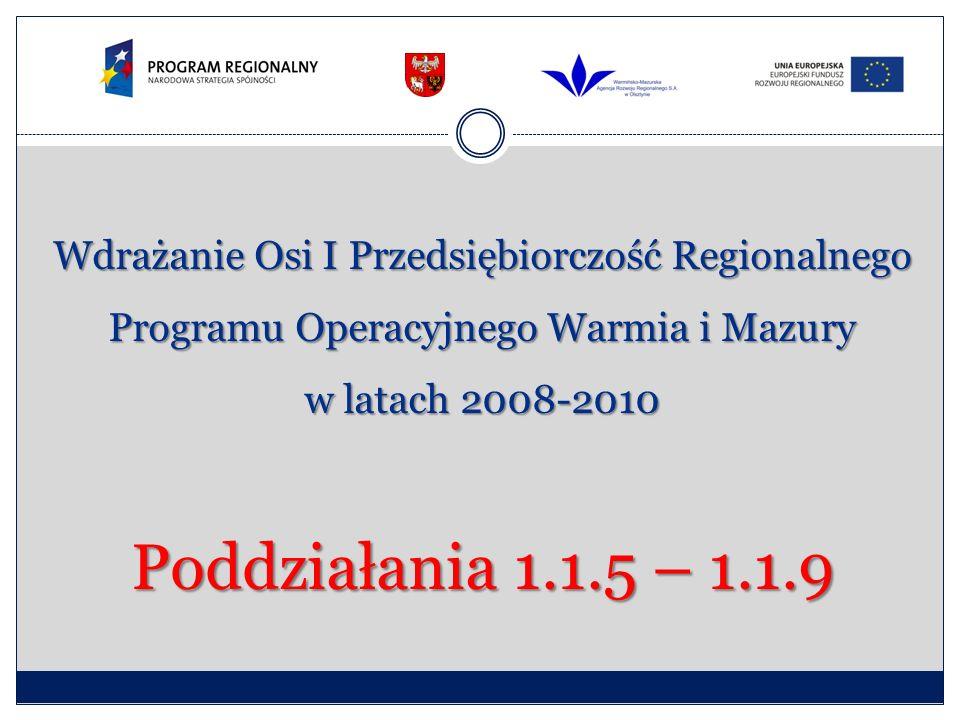 Wdrażanie Osi I Przedsiębiorczość Regionalnego Programu Operacyjnego Warmia i Mazury w latach 2008-2010 Poddziałania 1.1.5 – 1.1.9
