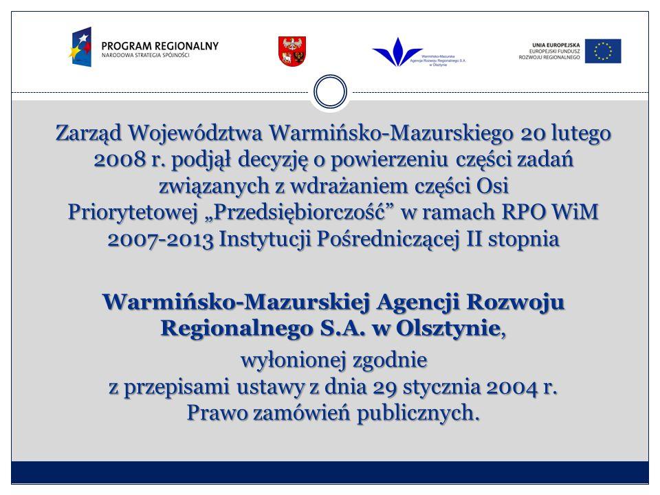 Zarząd Województwa Warmińsko-Mazurskiego 20 lutego 2008 r. podjął decyzję o powierzeniu części zadań związanych z wdrażaniem części Osi Priorytetowej