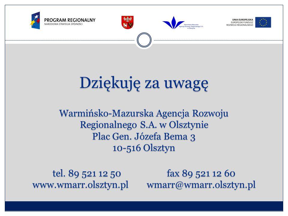 Dziękuję za uwagę Warmińsko-Mazurska Agencja Rozwoju Regionalnego S.A. w Olsztynie Plac Gen. Józefa Bema 3 10-516 Olsztyn tel. 89 521 12 50fax 89 521