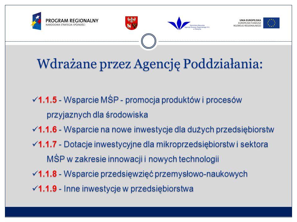Wdrażane przez Agencję Poddziałania: 1.1.5 - Wsparcie MŚP - promocja produktów i procesów przyjaznych dla środowiska 1.1.5 - Wsparcie MŚP - promocja p