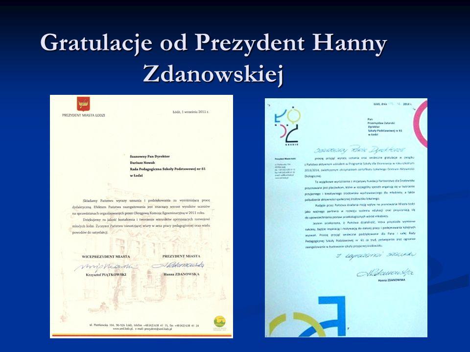 Gratulacje od Prezydent Hanny Zdanowskiej